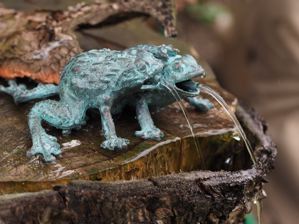 FO 79 Frog Pair Solid Bronze Fountain Water Feature 7x18x21cm 1 | Avant Garden