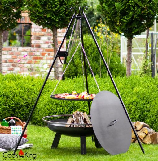 CookKing Porto Fire Bowl inc Lid Grill on tripod 180cm with reel 1 | Avant Garden