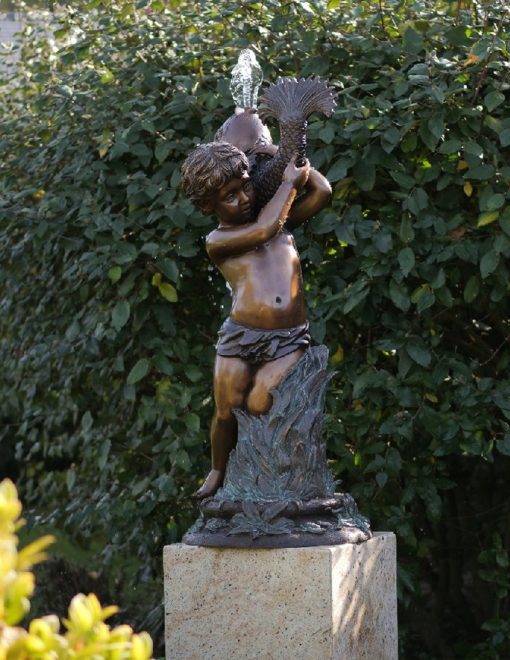 FO 83 Solid Bronze Water Boy with Fish Fountain 106x45x45cm 1 | Avant Garden