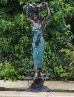 FO 84 Solid Bronze Water Nymph with Conch Shell Fountain 200x75x70cm 1 | Avant Garden
