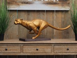 WI 76 Solid Bronze Cheetah Racing Sculpture 1 | Avant Garden