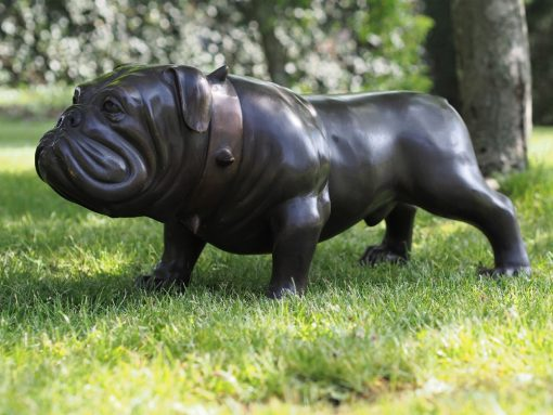 Bulldog Studded Collar Solid Bronze Sculpture 37x38x78cm 1 | Avant Garden
