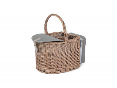 FH099 Chesil Beach Hamper Full Antique Wash Finish Willow Chiller Compartment 1 | Avant Garden