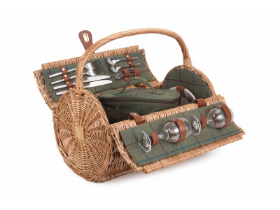 FH111 Bridport Barrel Picnic Hamper 2 person Green Tweed 1 | Avant Garden