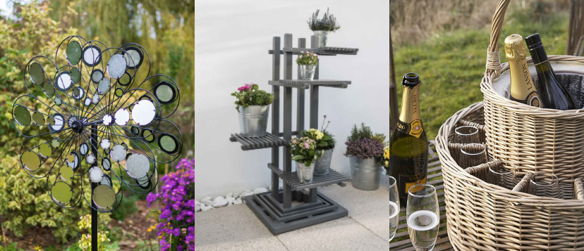 Springtime Alfresco Sale Garden Spinner Wind Sculptures Planter Stands and Picnic Hampers