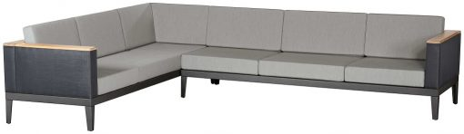Aura Six Seater Modular Lounge Sofa Deep Seating Charcoal Graphite Frames by Barlow Tyrie (1) | Avant Garden