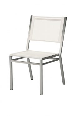 Equinox Side Chair Pearl Sling & Arctic White Frame by Barlow Tyrie (1) | Avant Garden