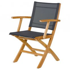 Horizon Dining Carver Charcoal Sling Teak Wood Folding by Barlow Tyrie (1) | Avant Garden