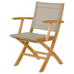 Horizon Dining Carver Titanium Sling Folding Teak Chair by Barlow Tyrie (1) | Avant Garden
