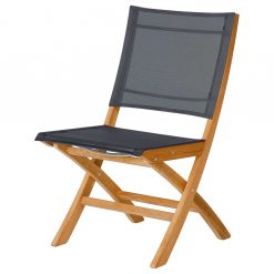 Horizon Dining Chair Charcoal Sling Teak Frame Folding by Barlow Tyrie (1) | Avant Garden