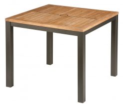 Aura 90cm Square Teak Top Table Graphite Frame by Barlow Tyrie (1) | Avant Garden