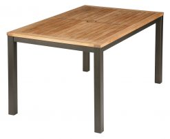 Aura 150cm Rectangular Teak Top Table Graphite Frame by Barlow Tyrie (1) | Avant Garden