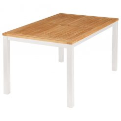 Aura Rectangular 150cm Teak Top Table Arctic White Frame by Barlow Tyrie (1) | Avant Garden