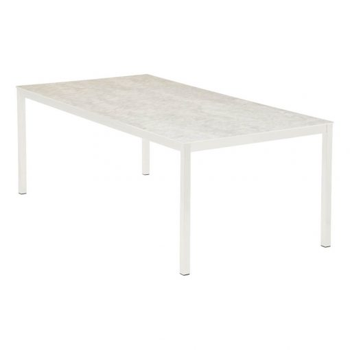 Equinox 200 Arctic White Frame Frost Ceramic Table by Barlow Tyrie 1   Avant Garden