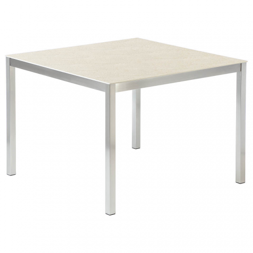 Equinox Dining Table 100cm Frost Ceramic Top by Barlow Tyrie 1 | Avant Garden