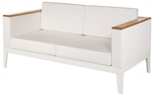 Aura Pearl Two Seater Sofa Deep Seating Lounge Arctic White Frame by Barlow Tyrie (1) | Avant Garden