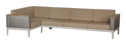 Aura Titanium Five Seater Sofa Deep Seating Lounge Champagne Frame by Barlow Tyrie (1) | Avant Garden