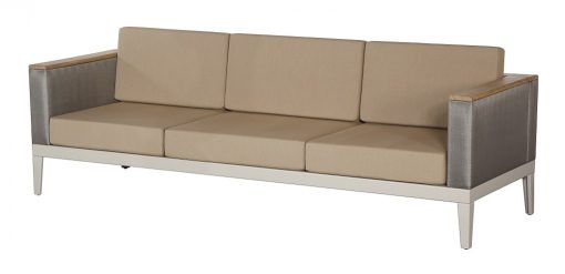 Aura Titanium Three Seater Sofa Deep Seating Lounge Champagne Frame by Barlow Tyrie (1) | Avant Garden
