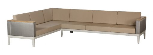 Aura Champagne Six Seater Modular Deep Seater Lounge Sofa Titanium Sides & Back Rest by Barlow Tyrie (1) | Avant Garden
