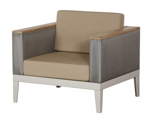 Aura Titanium Armchair Deep Seating Lounge Champagne Frame by Barlow Tyrie (1) | Avant Garden