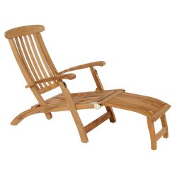 Commodore 52 Steamer Chair Solid Teak with detachable footrest by Barlow Tyrie (1) | Avant Garden