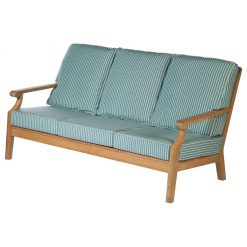 Chesapeake Three Seater Sofa Deep Seating Solid Teak Sunbrella Waterproof Cushions by Barlow Tyrie (1) | Avant Garden