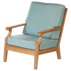 Chesapeake Armchair Deep Seating Lounge Solid Teak Sunbrella Waterproof Cushions by Barlow Tyrie (1) | Avant Garden