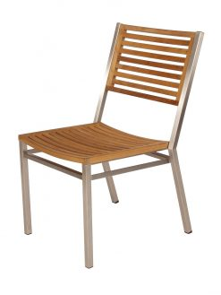 Equinox Teak Dining Chair Brushed Stainless Steel Frame by Barlow Tyrie (1) | Avant Garden