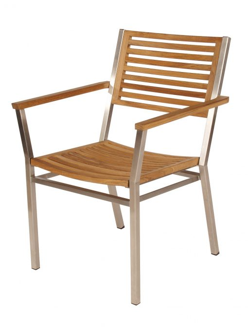 Equinox Teak Dining Armchair Brushed Stainless Steel Stacking Frame by Barlow Tyrie (1) | Avant Garden
