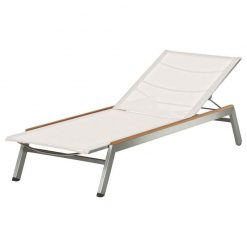 Equinox Sunlounger Pearl Sling Teak Capping Brushed Stainless Steel by Barlow Tyrie (1) | Avant Garden