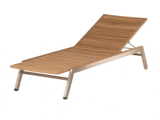 Equinox Sunlounger Teak Seat & Back Brushed Stainless Steel by Barlow Tyrie (1) | Avant Garden