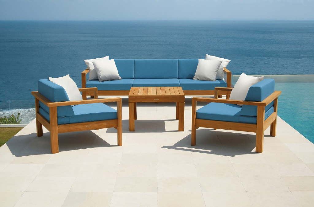 Linear Deep Seating Lounge Sofa & Armchair Suite Solid Teak Waterproof Cushions by Barlow Tyrie (1) | Avant Garden