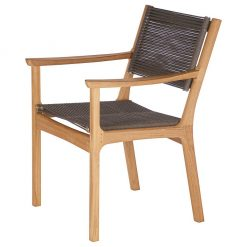 Monterey Armchair Carver Brown Cord Solid Teak by Barlow Tyrie (1) | Avant Garden