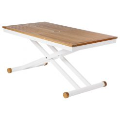 Aura 140 Arctic White Adjustable Teak Top Table by Barlow Tyrie (1) | Avant Garden
