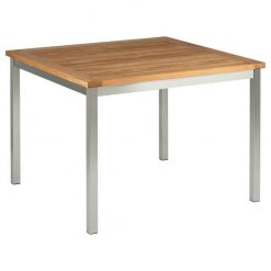 Equinox Teak 100 Square Table Brushed Stainless Steel Frame by Barlow Tyrie (1) | Avant Garden