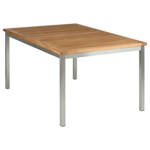 Equinox Teak 150 Rectangular Table Brushed Stainless Steel Frame by Barlow Tyrie (1) | Avant Garden