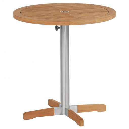 Equinox Teak 70 Bistro Table Brushed Stainless Steel Frame by Barlow Tyrie (1) | Avant Garden