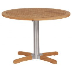 Equinox Teak 100 Bistro Table Brushed Stainless Steel Frame by Barlow Tyrie (1) | Avant Garden