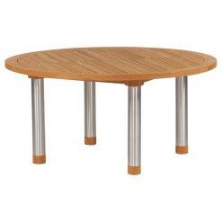 Equinox Teak Circular 150 Table Brushed Stainless Steel Frame by Barlow Tyrie (1) | Avant Garden