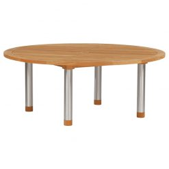 Equinox Teak Circular 180 Table Brushed Stainless Steel Frame by Barlow Tyrie (1) | Avant Garden