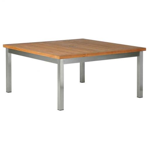 Equinox Low Teak 100 Square Table Brushed Stainless Steel by Barlow Tyrie (1) | Avant Garden