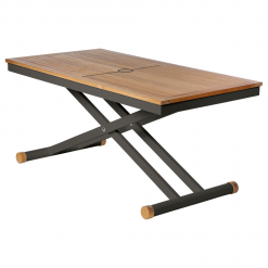 Aura 140 Graphite Frame Adjustable Height Teak Top Table by Barlow Tyrie (1) | Avant Garden