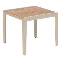 Aura 60 Champagne Low Table Teak Top by Barlow Tyrie (1) | Avant Garden