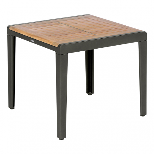 Aura 60 Low Table Square Graphite Frame Teak Top (1) | Avant Garden