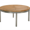 Equinox 100 Conversation Table Teak Top Brushed Stainless Steel Frame by Barlow Tyrie (1) | Avant Garden