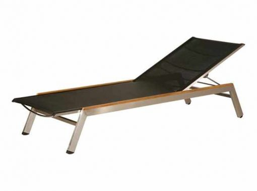 Equinox Lounger Charcoal Sling Stainless Steel Teak Capping by Barlow Tyrie (1) | Avant Garden