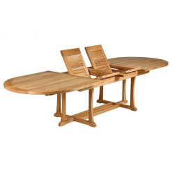 Stirling 320 Extending Dining Table Oval Solid Teak by Barlow Tyrie (1) | Avant Garden