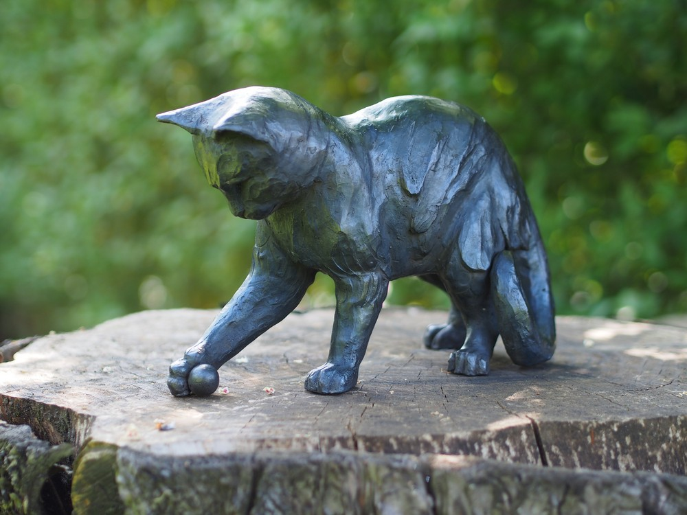 Cat With A Ball Solid Bronze Sculpture (1) | Avant Garden