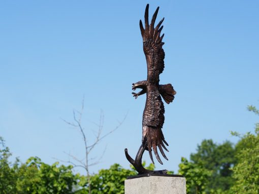 Eagle In Flight Solid Bronze Sculpture (1) | Avant Garden