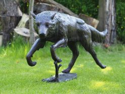 MI 75 Wolf In Action Solid Bronze Sculpture (1) | Avant Garden